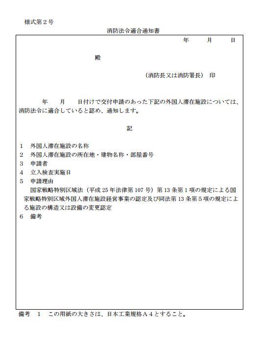 消防法令適合通知書